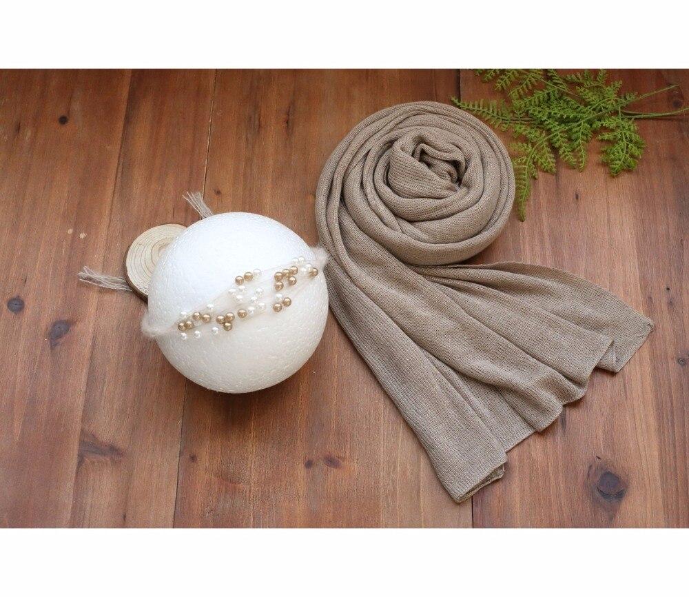 Handmade Baby Headband Set Jersey Strtch Knit Wrap Swaddle Blanket Wrap Layer Swaddle Cocoon Baby Wraps Newborn Tieback Props