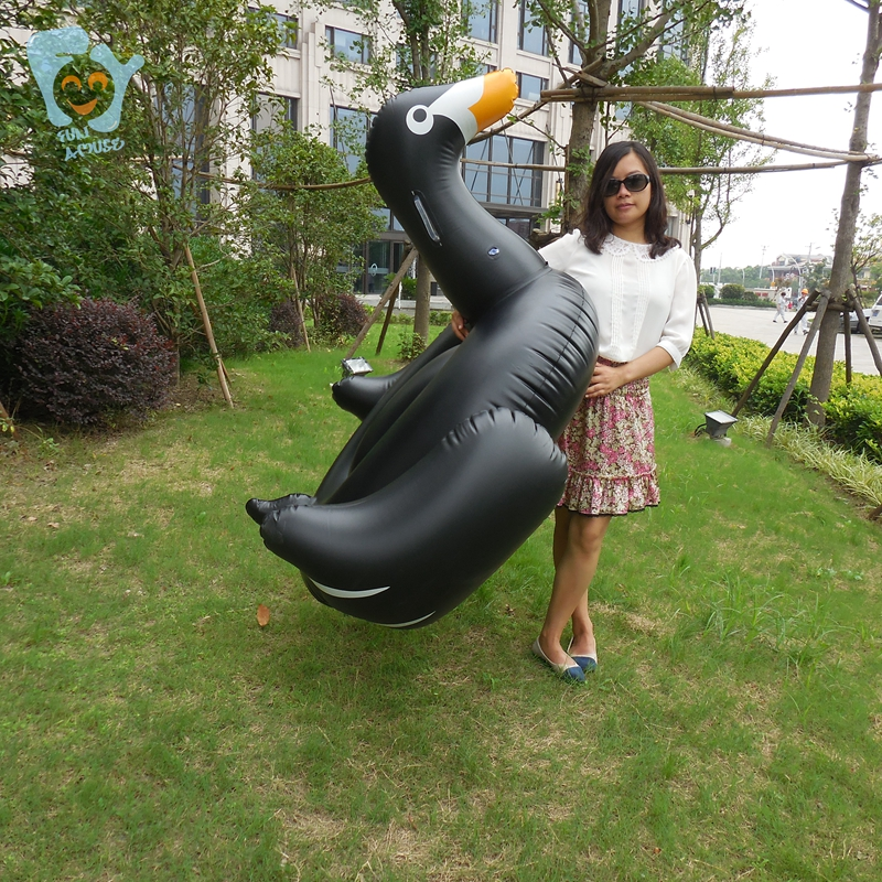 150cm Adult/Child Inflatable Black Swan Pool Inflatable Ride-on Duck Toys Swimming Floats Water Beach Mattress Raft Boia Piscina