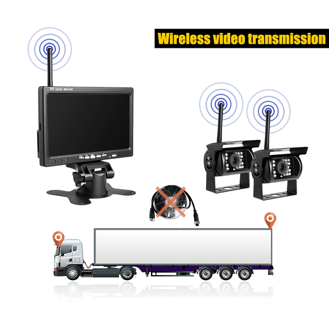 Wireless Rear View Camera Vehicle 7 inch HD Monitor With Dual Night Vision Waterproof Backup Cameras Kits for Truck Trailer Bus