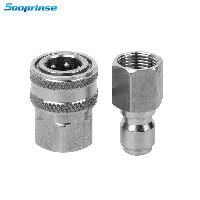 Sooprinse High pressure washer Stainless Steel Quick Connect Pressure Washer Adapter Set 3/8 Female Quick Connect Plug,5000PSI
