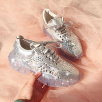 NEW Leather 2019 Diamond Sneaker Clear Platforms Bling Bling Women Sneakers Lace Up Thick Bottom Casual Shoes Woman