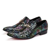 Italian men shoes elegant spike dress slipon party wedding glitter leather loafers prom zapatos hombre vestir