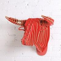 1 satz 5mm MDF Kreative Dekoration Behänge Holz Bull Animals Kopf Für Dekoration und Geschenk IW-WD014