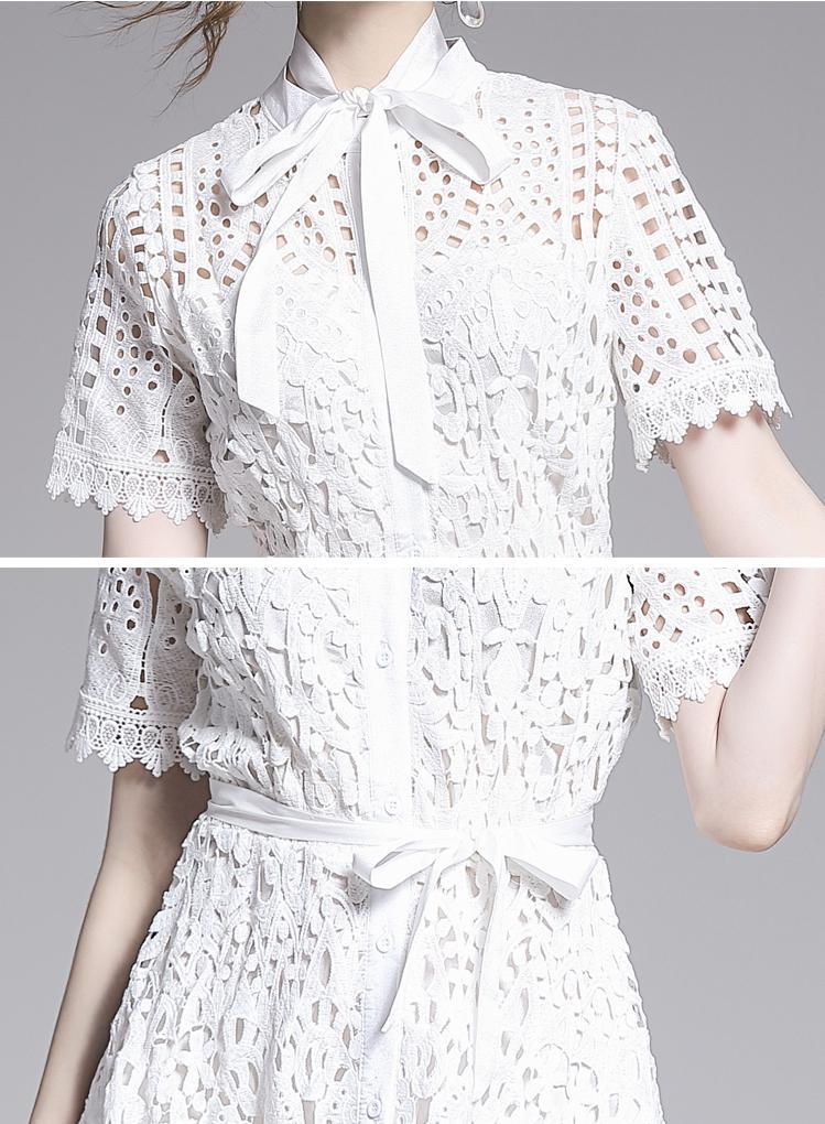 Elegant White Black Lace Hollow Out Dress 10