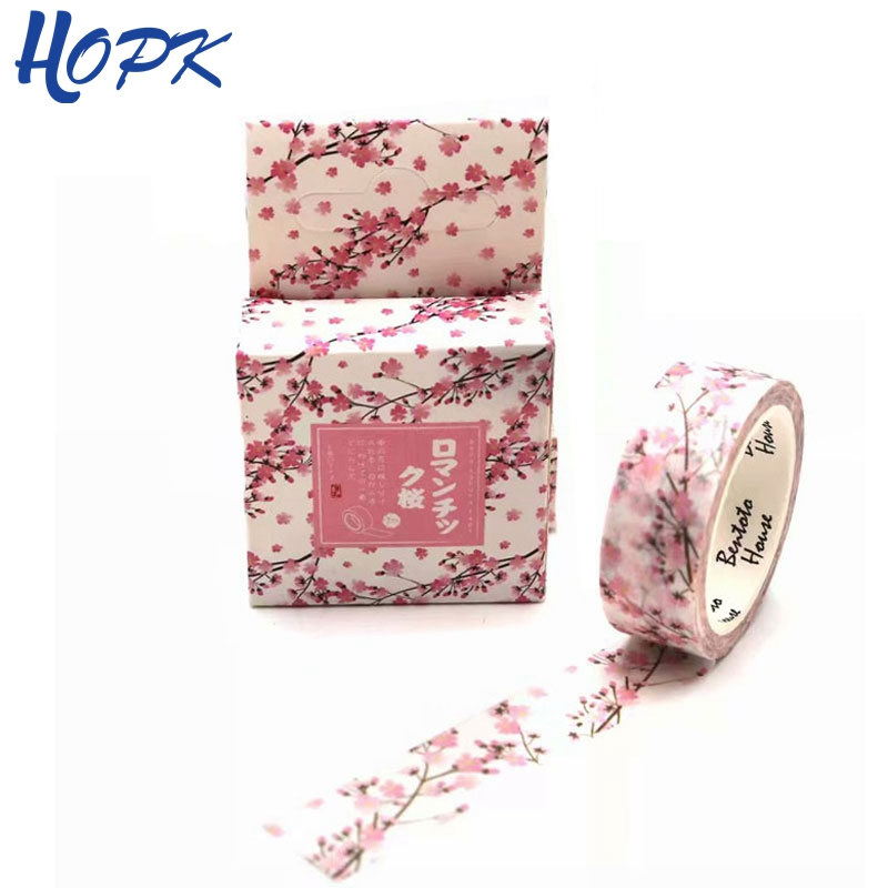 Cute Pink Cherry Rolls Washi Masking Tape kawaii Flower Washitape Bullet Journal Washi Tape DIY Scrapbooking Sticker Paper Tapes