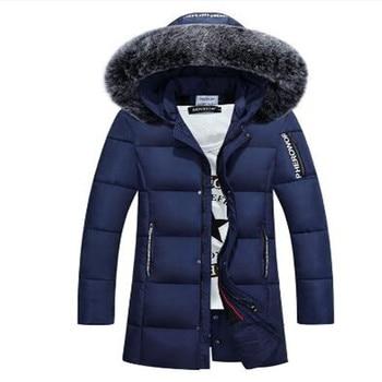 Free Shipping 2018 Winter Duck Down Jacket Men Long Slim Coat Big Fur Collar Coat Long Youth Winter Outwear Jacket