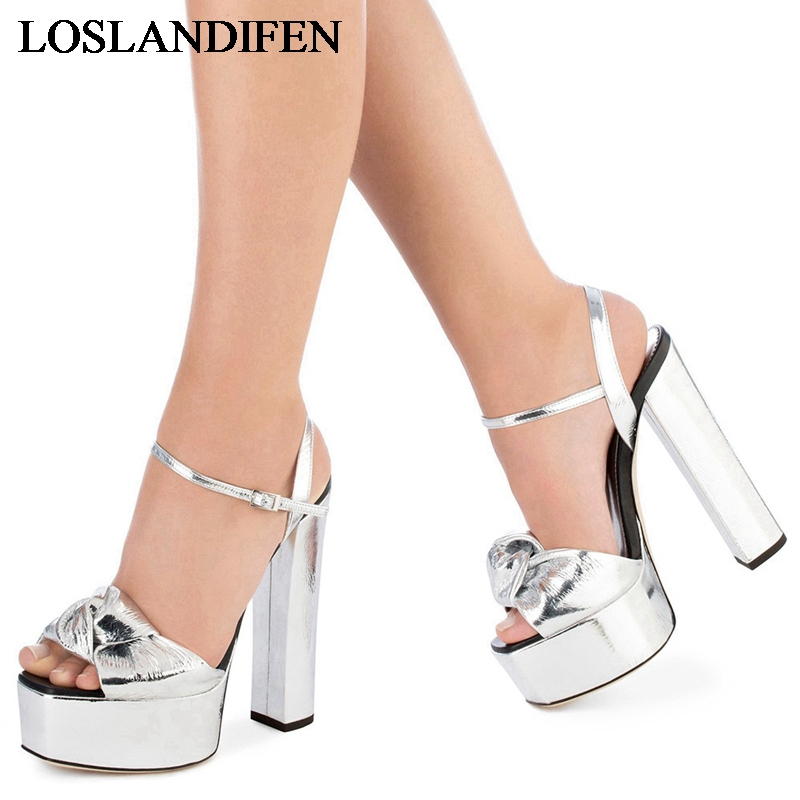 Women High Heels Sandals Sandals Summer Square Heeled Shoes Ladies Sexy Wedding Shoes Ladies Party Platform Shoes TL A0033 in High Heels from Shoes
