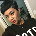Short Straight Glueless Full Lace Human Cut Hair Wig With Bangs Pixie Glueless None Lace Human Short Hair Wig For Black Women