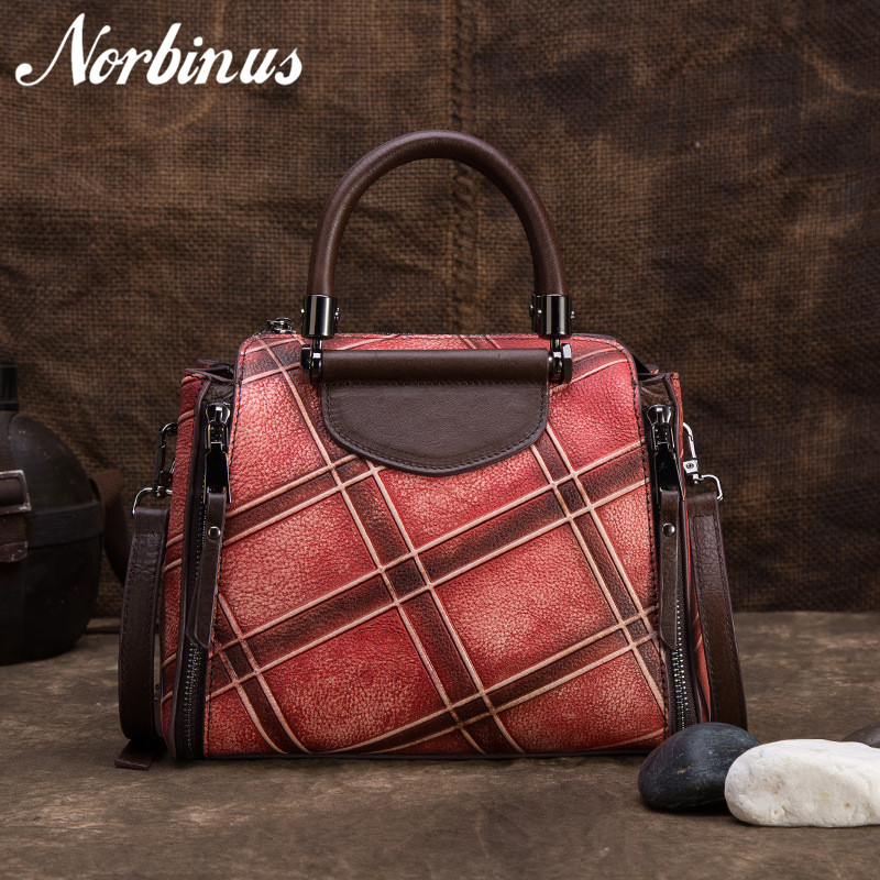 Norbinus Real Cowhide Top Handle Bags Genuine Leather Shoulder Messenger Bag Vintage Leather Handbags Tote Women Crossbody Bag vintage style women s genuine leather handbag tote top cowhide shoulder bag clutch evening bag braided handle