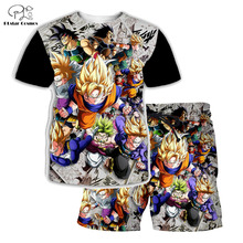 PLstar Cosmos Summer T Shirts Printed Dragon Ball Z 3D T-Shirt and shorts Mens for boy Super Saiyan Suit Free shipping