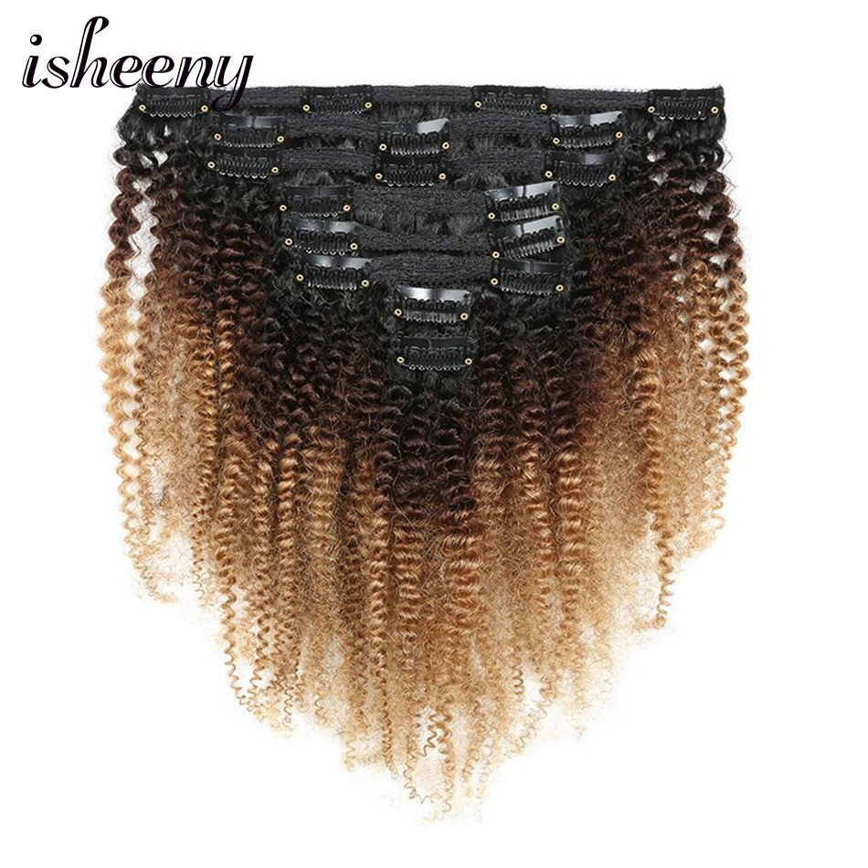 Isheeny 120g Clip Full Head 1B/4/27 Afro Kinky Curly Clip In Hair Extensions 8pcs/set Brazilian Human Extension Clip Hair