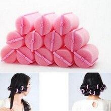 Новые профессиональные 12 шт. бигуди парикмахерские инструменты мягкие DIY губки для укладки волос поролоновые бигуди для волос розовый цвет инструмент для укладки