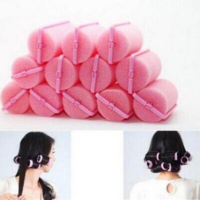 Novo profissional 12 pçs modelador ferramenta de cabeleireiro macio diy esponja estilo do cabelo espuma rolos cabelo cor rosa ferramenta estilo