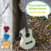 Concert Acoustic Electric Ukulele 23 Inch Guitar 4 Strings Ukelele Guitarra Handcraft Wood White Guitarist Zebrawood