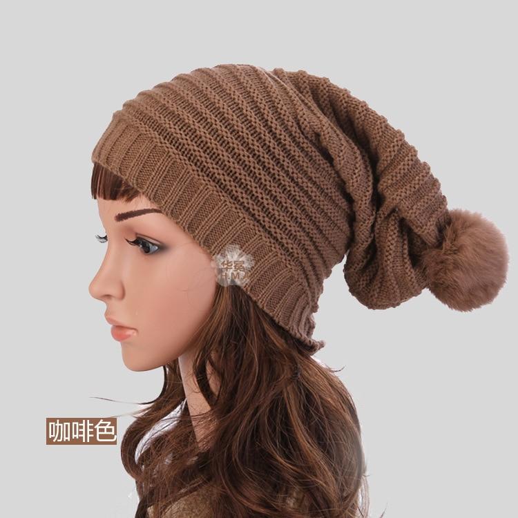 2015 Korean Winter Hat female monocolored stripes long Baotou suture  knitted hat hat women 100% acrylic + rabbit 96baefda7e9