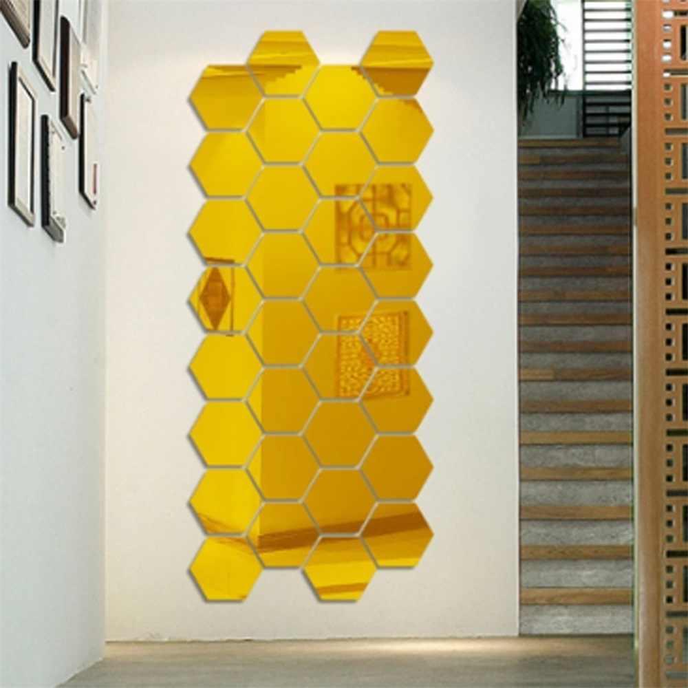 1 pc caja Hexagonal estereoscópica carácter decorativo espejo pared pegatinas sala de estar Decoración