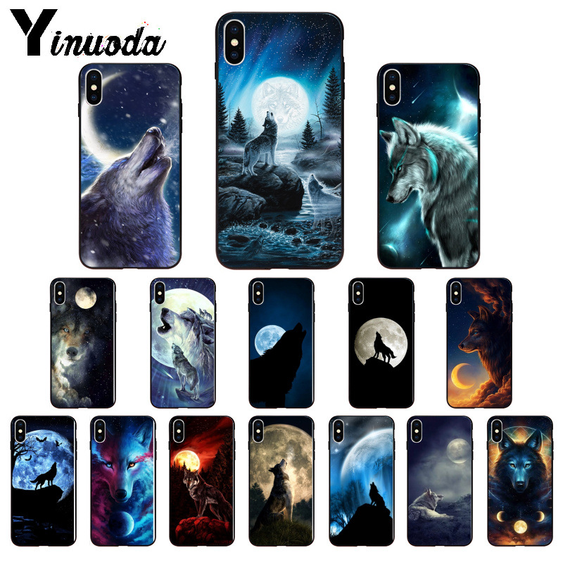 Yinuoda Moon roaring wolf TPU Soft Silicone Phone <font><b>Case</b></font> Cover for Apple <font><b>iPhone</b></font> 8 7 6 6S Plus X XS MAX 5 5S SE <font><b>XR</b></font> Mobile <font><b>Cases</b></font> image