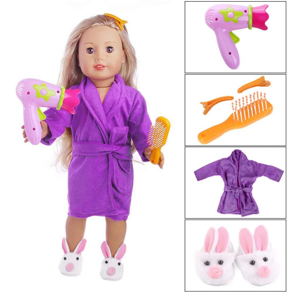 New Hair Dryer Comb Hairpin Bathrobe Slippers for All 18 American Girl Doll Bath Supplies Accessories Wholesale cabaret girl s dress hair comb