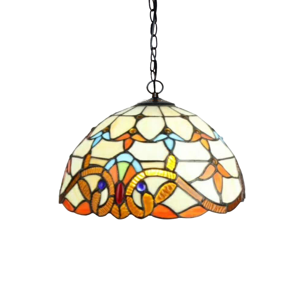 Antique European Home Baroque Stained Glass Edison Led Hanging Pendant Lamp Light With Chain Cafe Bar Counter House Lighting