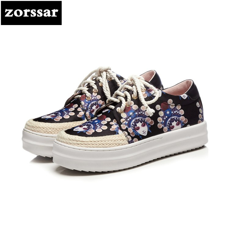 {Zorssar} 2018 spring autumn fashion casual shoes women big size Comfortable flats sneakers shoes Female flat platform Loafers