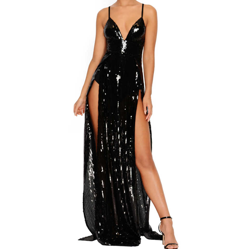 Sequin Strap Dress ... Jillperi Fashion Women Dresses Deep V Neck Strap High Waist Luxury  Elegant Sequin Dress Sexy Leg ...