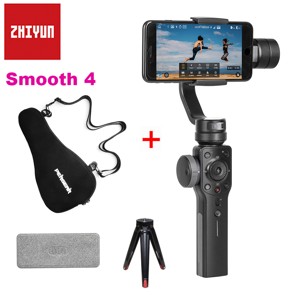 Zhiyun Smooth 4 3-Axis Handheld Smartphone Gimbal Portable Stabilizer w/ Storage Bag for iPhone X 8Plus 8 7 6S SE Samsung S9 S8 zhiyun smooth 4 3 axis handheld smartphone gimbal stabilizer vs zhiyun smooth q model for iphone x 8plus 8 7 6s samsung s9 s8 s7