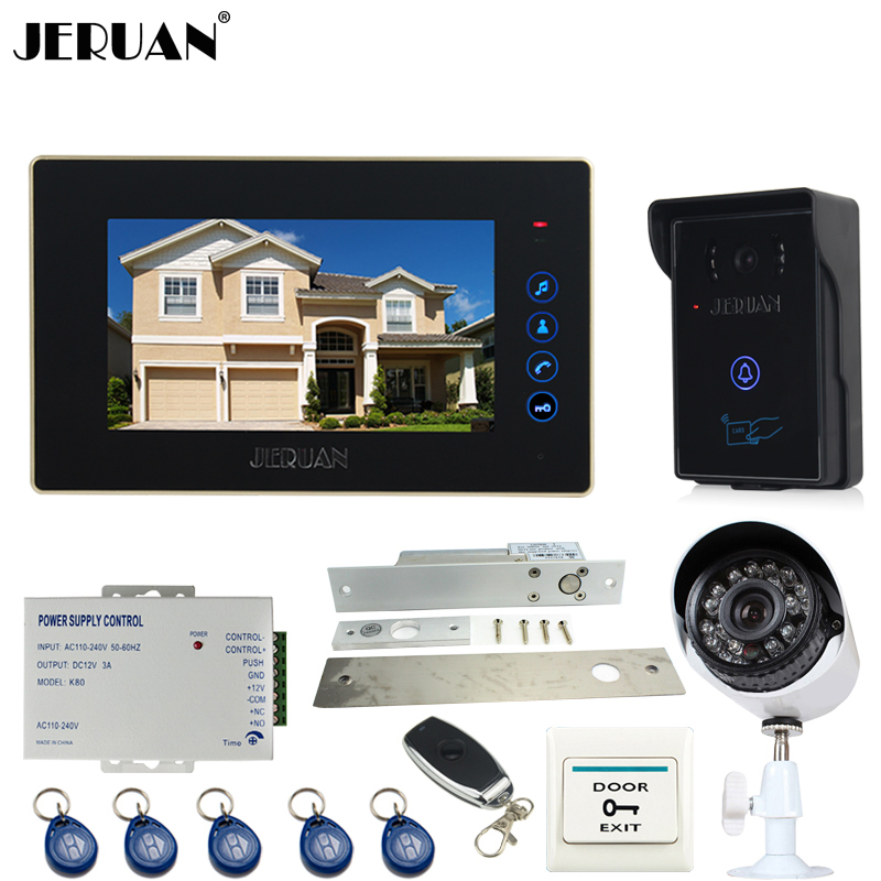 JERUAN 7 inch Video door Phone Entry intercom System kit waterproof RFID Access Camera +700TVL Analog Camera + remote control jeruan apartment 4 3 video door phone intercom system kit 2 monitor hd camera rfid entry access control 2 remote control