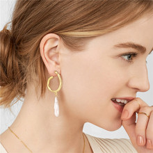 2019 Gilding Baroque Pearl Earrings for women earrings fashion irregular pearl gilding drop earring