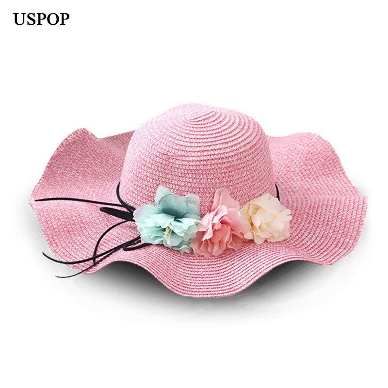 Fashion parent-child Cute flower sun hats Girl hand made straw wave wide brim sun hats casual shade hat summer woman beach hat