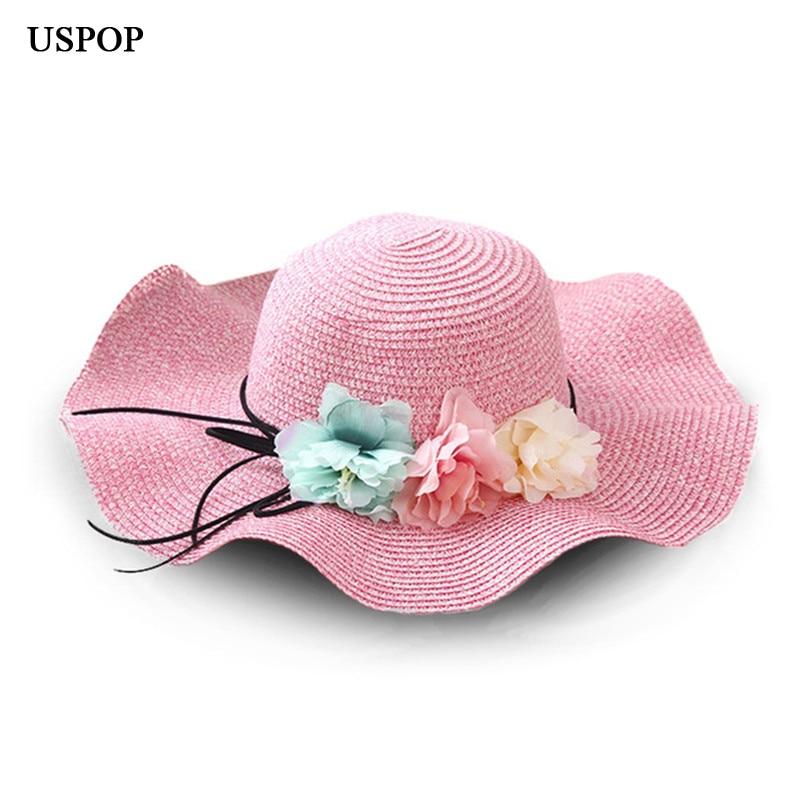 Sun Hats Girl Hand Made Straw Wave Wide Brim Sun Hats