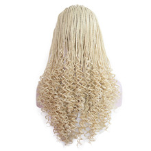 26 Inches Blonde Wig with Baby Hair Synthetic Lace Front Wig for Women High Temperature Hair Braided Box Braids Wig