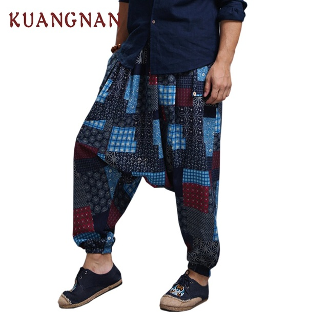 KUANGNAN Jogger Pants Men Cotton Linen Casual Pants Men Streetwear Cross-Pants Men Pantalon Homme One Size Trousers 2018 Summer 2