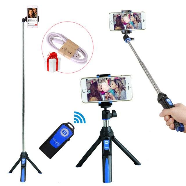 Ulanzi Benro Mefoto 블루투스 모노 포드 셀프 카메라 스틱 후면 거울 미니 삼각대 자화상 아이폰 삼성 Andriod Gopro의