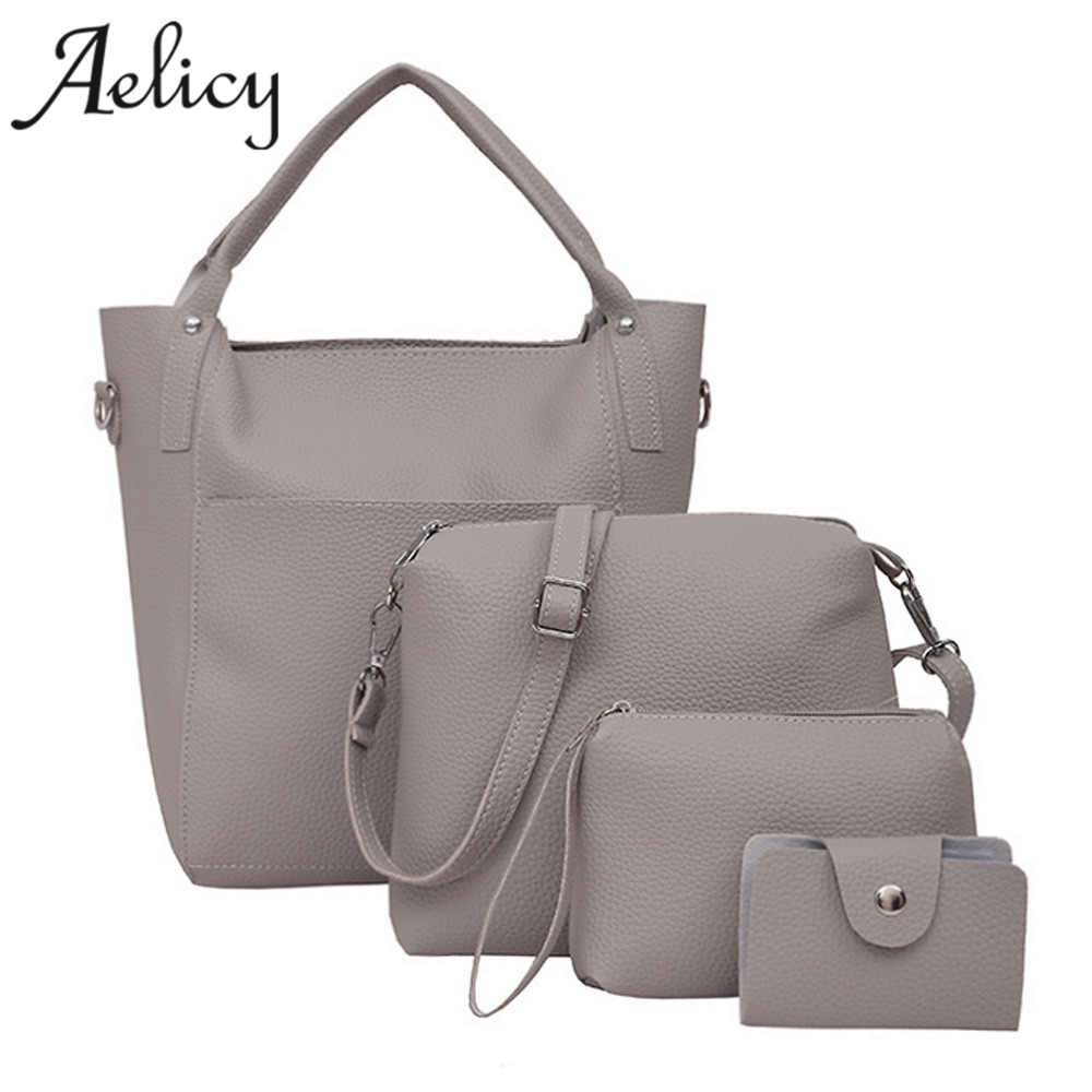 Aelicy 4 PCS/Set Buy One Get four Bags Fashion Four Set Handbag Shoulder Bags Four Pieces Tote Bag Crossbody Wallet bolsas one set 4 pcs 95mm