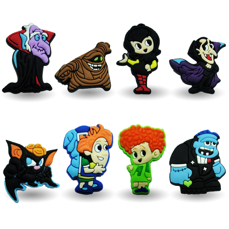 New Arrival 8pcs Hotel Transylvania decoration PVC Pins badges brooches collection DIY charms fit Clothes Bags shoes kids gift new 1pcs single the secret life of pet decoration pvc pins badges brooches collection diy charms fit clothes bags shoes kid gift