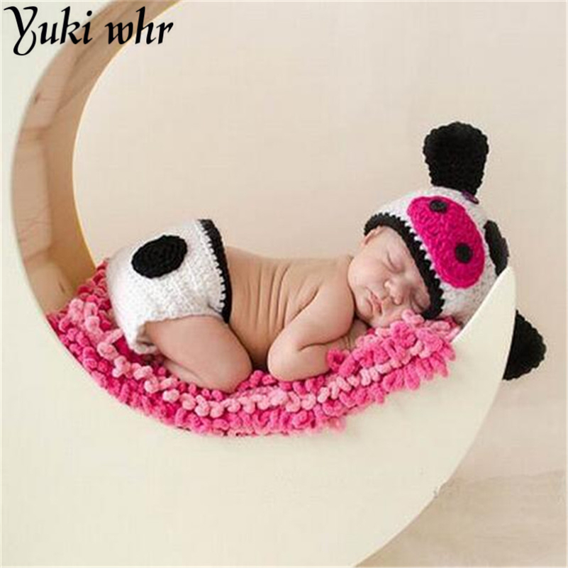 Cute Baby Infant Knitted Clothing Set Cartoon Dairy Cow Costume Crochet Newborn Photography Baby Hats Caps 0-6Month