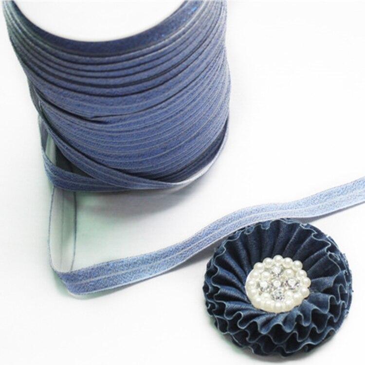"""""""5/8"""" джинсовые эластичные 100 ярдов+ 30 шт 8 см горный хрусталь потертые джинсовые цветы для повязки на голову"""
