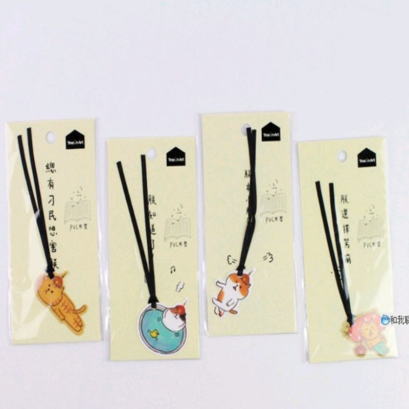 1PC Cute Cat Kitten Bookmarks With Ribbon Marker Of Page Stationery School Office Supply  Kids Gift
