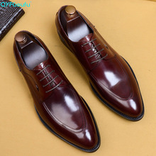 QYFCIOUFU New Men Dress Shoes Genuine Leather Mens Handmade Business Wedding Big Size Lace-up Male Leisure