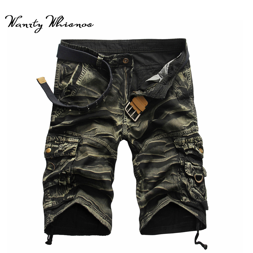 2018 New Men Cargo Shorts Casual Loose Short Pants Camouflage Man Military Summer Style 8 Colors Multi Pocket Work Shorts Men