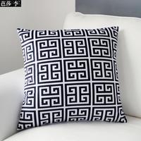 H3140 New Vintage Black White Geometric Patterned Cushion Cover Soft Velvet Sofa Pad Throw Pillow Cases