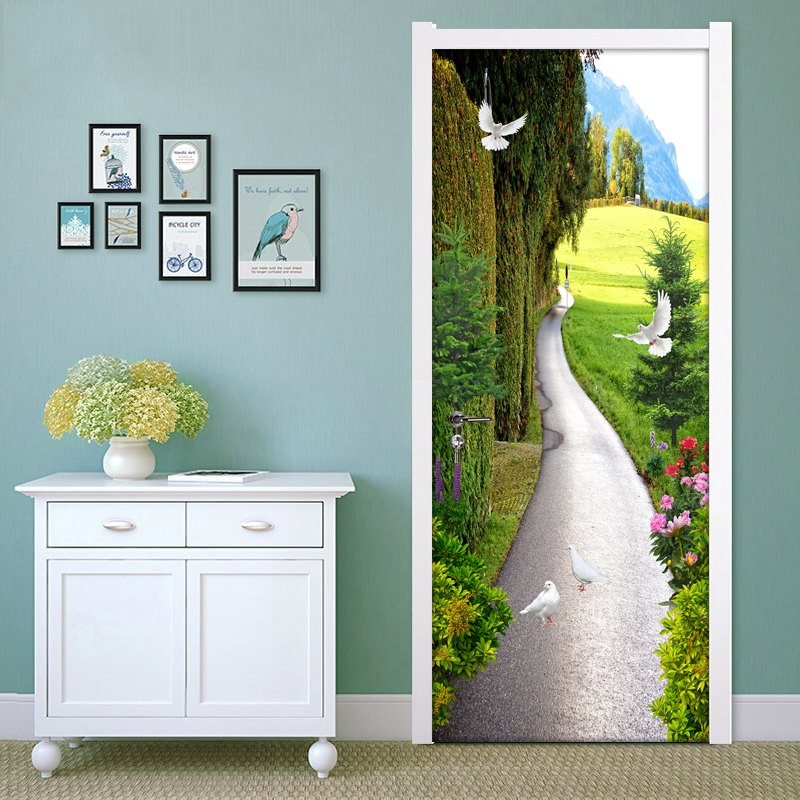 Pastoral Landscape Small Road 3D Living Room Bedroom Door Sticker Wall Paper PVC Mural Waterproof Self-adhesive Vinyl Wallpaper