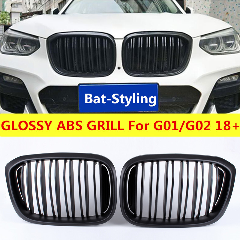 NEW Glossy Black ABS Grill For BMW G01 G02 2 Fin Front Grille X3 X4 Bumper Kidney Styling xDrive20i xDrive30i 2018+
