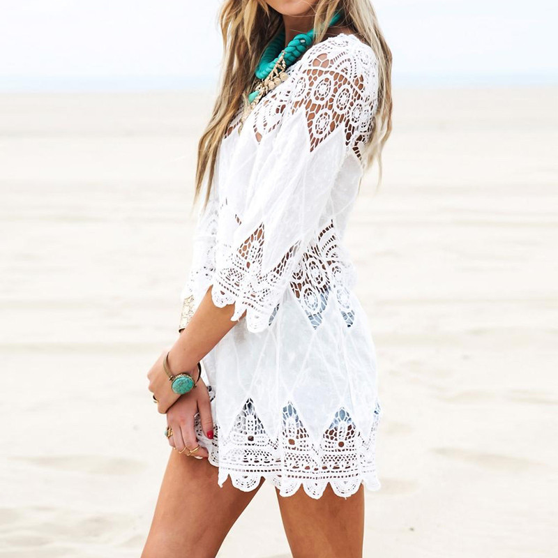 2018 Summer Women Beach Mini White Dress Elegant Half Sleeve O Neck Lace Floral Crochet Hollow Out Solid Beach Dress Vestidos