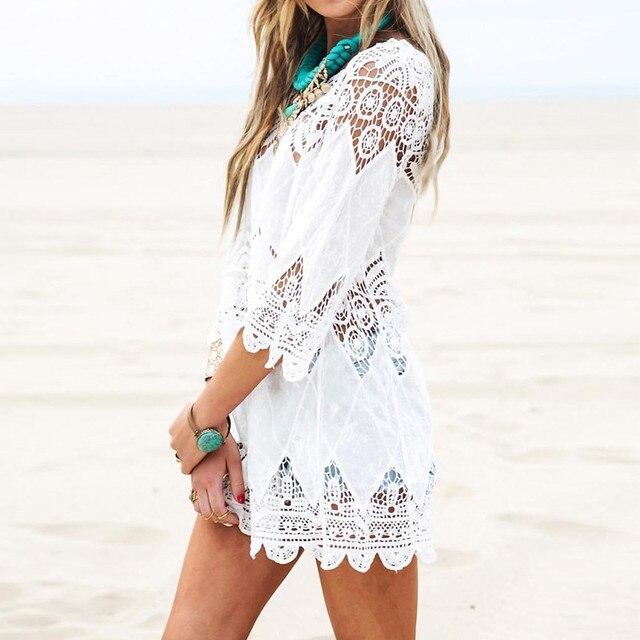 2017 лето женщины пляж мини белый dress элегантный половины рукав o шеи кружева цветочные крючком выдалбливают твердые пляж dress vestidos