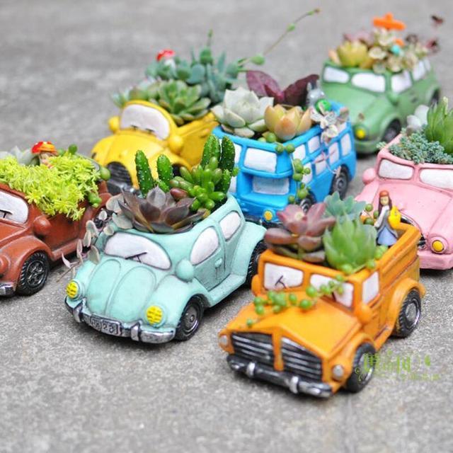 ซิลิโคนคอนกรีตแม่พิมพ์การ์ตูนรถอีพ็อกซี่เรซิ่นกระถางดอกไม้แม่พิมพ์ Handmade CRAFT ซีเมนต์ Planter เครื่องมือ