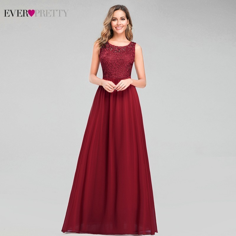 Elegant Burgundy Lace Prom Dresses Long A-Line O-Neck Sleeveless See-Through Formal Evening Party Gowns Vestidos De Gala 2020