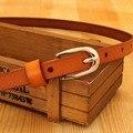 Nueva llegada! cuero genuino de las mujeres cinturones delgados cinturones de moda de Metal hebilla de cinturones de piel de vaca para las mujeres