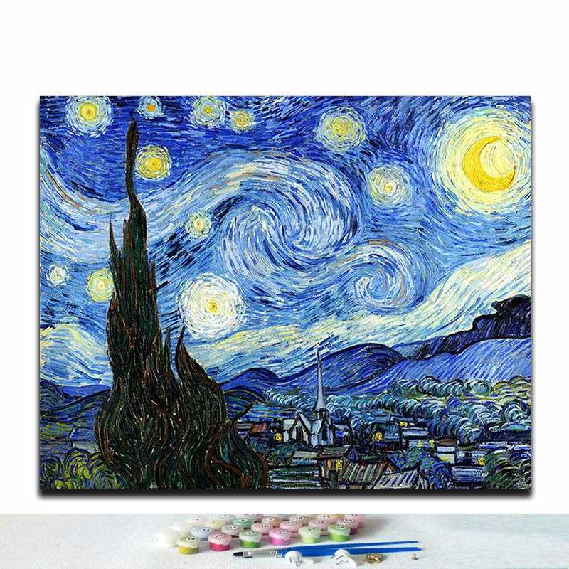 "Diy painting by numbers Vincent Van Gogh's paintings ""The Starry Night"" abstract Impression art pictures   with colors"