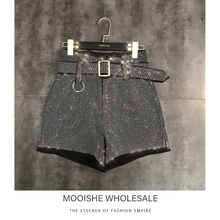 MOOISHE Diamond Women Shorts With Belt High Waist Hotpants Sexy Bottom for Summer